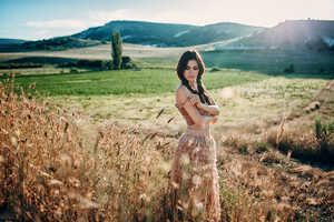 Girl Outdoors In Field Sunlight