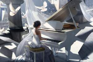 Girl Playing Piano Painting 4k