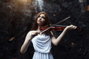 Girl Playing Violin 4k Wallpaper