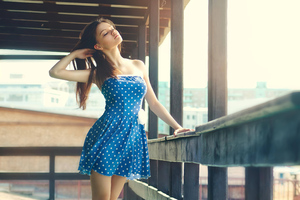 Girl Polka Dots Dress 4k Wallpaper