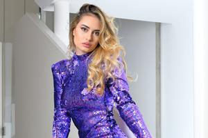 Girl Purple Dress Blonde Hairs Stairs 4k Wallpaper