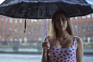Girl Rain Umbrella Outdoor