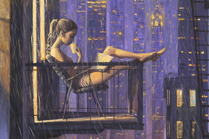 Girl Reading Book Drinking Coffee While Sitting On Balcony Painting Wallpaper