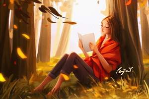 Girl Reading Book In The Nature 4k Wallpaper