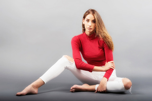 Girl Red Clothing Blonde Hairs 5k Wallpaper