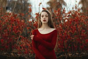 Girl Red Dress 4k Wallpaper