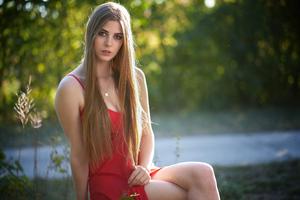 Girl Red Dress 8k Wallpaper