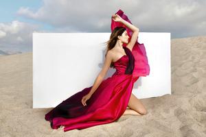 Girl Red Dress Desert 5k Wallpaper
