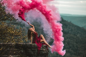 Girl Red Dress Smoke Bomb