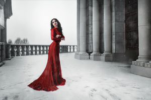Girl Red Dress Snow Photoshoot Wallpaper