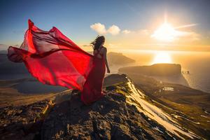 Girl Red Dress Waving 4k