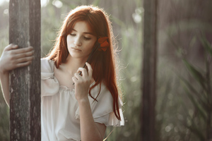 Girl Red Hair Rose In Hand 4k Wallpaper