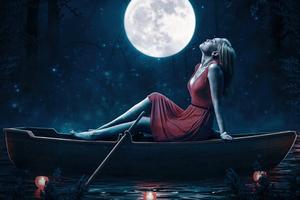Girl Relaxing Red Dress Boat Moon 5k Wallpaper