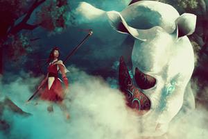 Girl Rhino Spirit Woman Warrior Artwork
