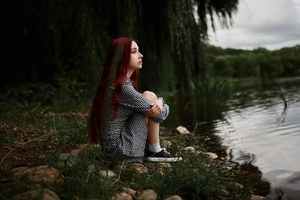 Girl Sitting At Lake Side View Wallpaper