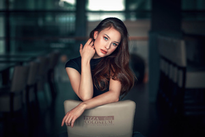 Girl Sitting Chair Backward 4k Wallpaper