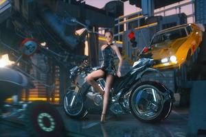 Girl Sitting On Cyber Bike Wallpaper