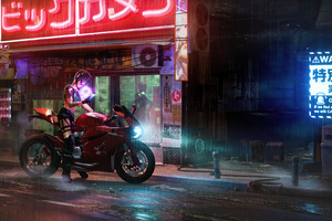 Girl Sitting On Ducati 1199 Cyberpunk Wallpaper
