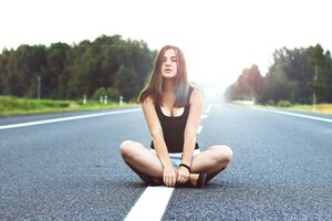 Girl Sitting On Road Wallpaper