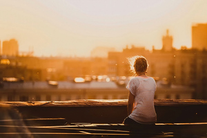 Girl Sitting On Rooftop Alone Wallpaper