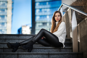 Girl Sitting On Stairs Looking At Viewer 4k Wallpaper
