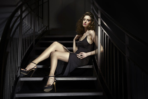 Girl Sitting Stairs Black Dress 8k