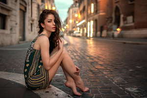 Girl Sitting Street Green Dress 4k Wallpaper