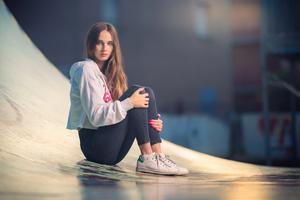 Girl Skate Park Looking At Viewer 4k Wallpaper