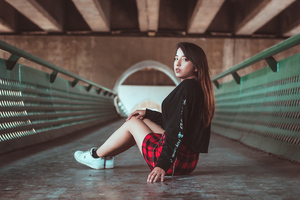 Girl Skirt Outfit Sitting Looking Back 4k Wallpaper
