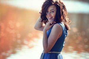 Girl Smiling Cute Turned Back 4k