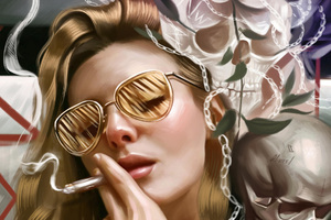 Girl Smoking Glasses Wallpaper