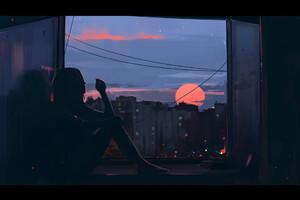 Girl Smoking Near Window Artwork Wallpaper