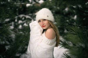 Girl Snow Winter White Clothing 4k Wallpaper