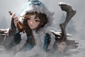 Girl Snow With Bells
