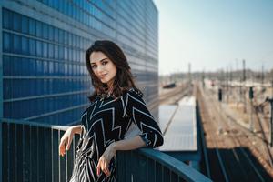 Girl Standing Balcony 5k Wallpaper