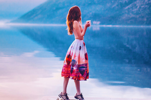 Girl Standing With Coffee Mug Pier Side Wallpaper