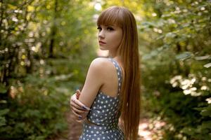 Girl Straight Hair Blonde Girl Poka Dot Dress Wallpaper