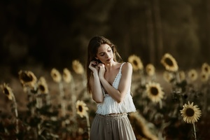 Girl Sunflower Field