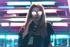 Girl Sunglasses Neon Lights Wallpaper