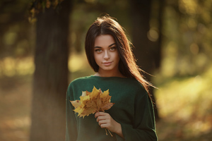 Girl Sweater Autumn Flowers 4k Wallpaper