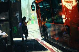 Girl Texting On Bus Side 4k Wallpaper