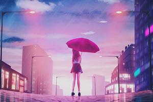 Girl Umbrella Rain 4k Wallpaper
