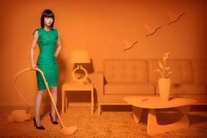 Girl Using Cleaner Wallpaper