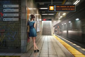 Girl Using Phone In Train Station 4k Wallpaper