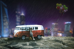 Girl Volkswagen Teddy Bear Balloon City Fantasy Artwork