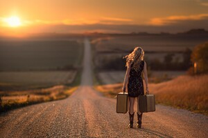 Girl Walking On Alone Road Wallpaper