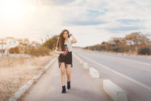 Girl Walking On Road