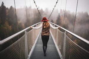 Girl Walking On Switzerland Mountains Bridges 4k