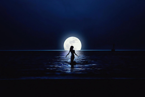 Girl Walking Towards Moon In Ocean Wallpaper
