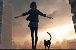 Girl Walking With Cat On Roof Wall 4k Wallpaper